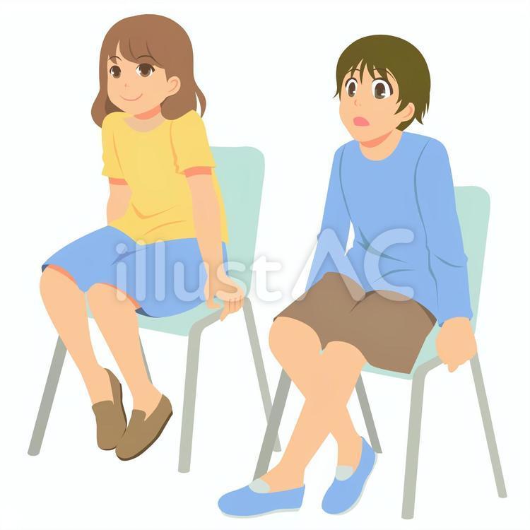 イラスト 座る 椅子 に