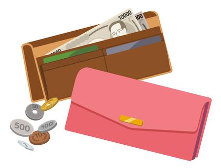两个钱包和现金(粉红色和棕色