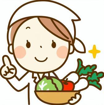 烹饪老师与蔬菜