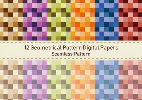 Square tile pattern wallpaper set