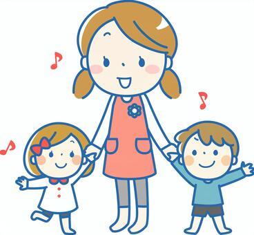 家庭主妇,女孩和男孩