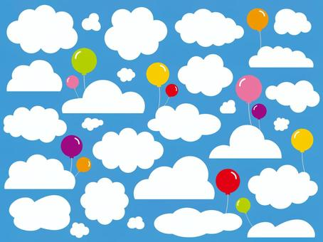 Various clouds and balloons