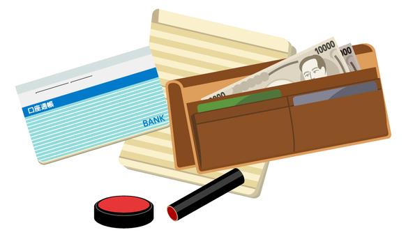 钱包和存折和密封(蓝色