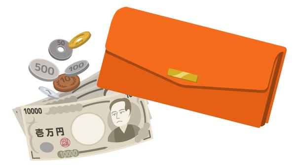 长钱包和现金(橙色