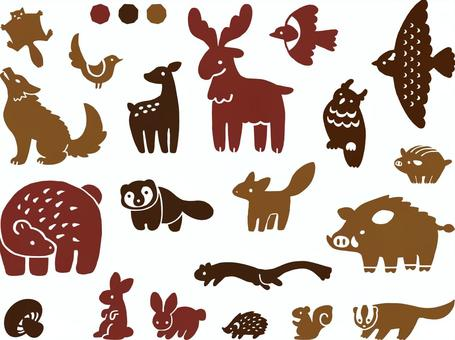 Hand-painted animals set (Forest)