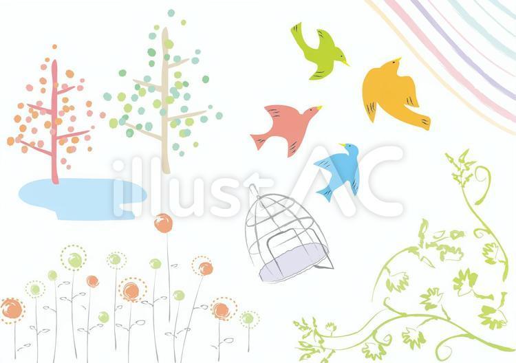 手描きの鳥や自然の素材イラスト No 無料イラストなら イラストac
