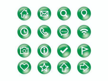 Button style icon set (green)