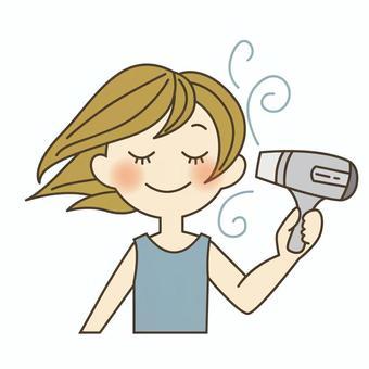 髪を乾かすイラスト/無料イラストなら「イラストAC」