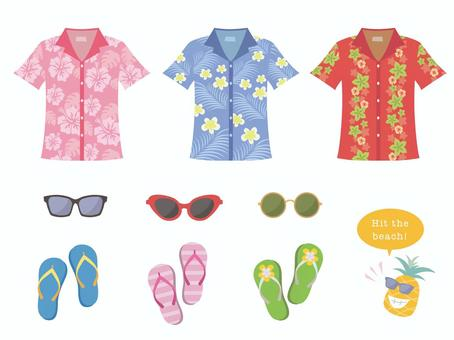 Aloha shirt and sunglasses and beach sandals