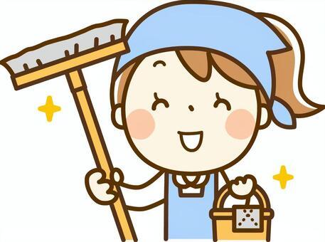女孩玩兼职工作 - 清理