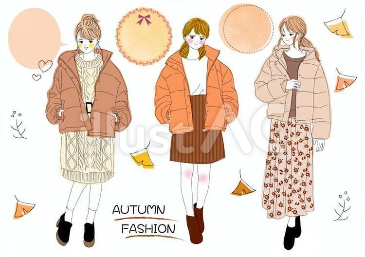 秋のファッション 手描き風女の子イラスト No 無料イラストなら イラストac