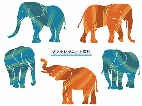 Elephant silhouette material (color)