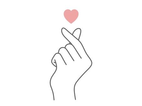 指ハートをつくる手_シンプル_ガーリーイラスト - No: 2342081/無料イラストなら「イラストAC」