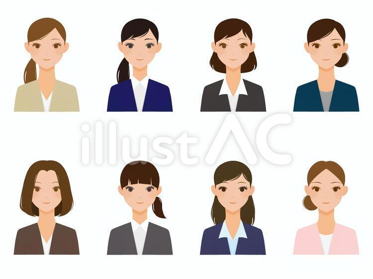 各种女性图标的西装