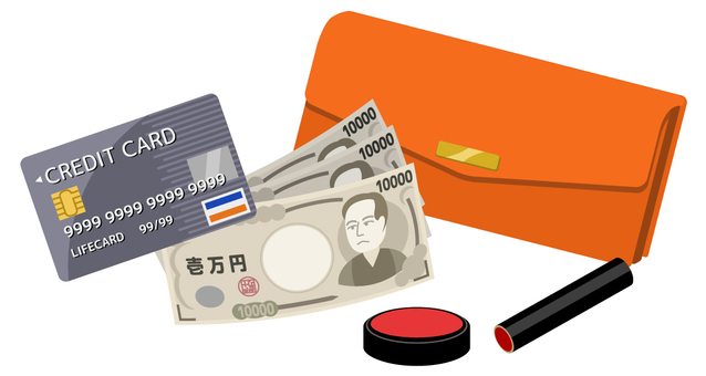 长钱包,信用卡,印章和现金(橙色