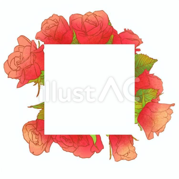 赤い薔薇の花フレーム
