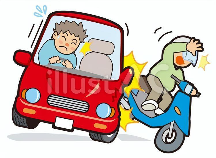 交通事故 車 バイク イラストイラスト - No: 1290064/無料イラストなら「イラストAC」