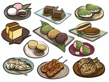 Assorted Japanese sweets