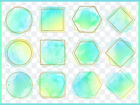 水彩和金色相框_Sea 1