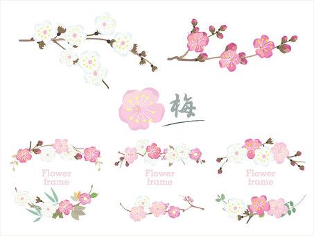 Plum frame_Japanese pattern Japanese style decorative frame