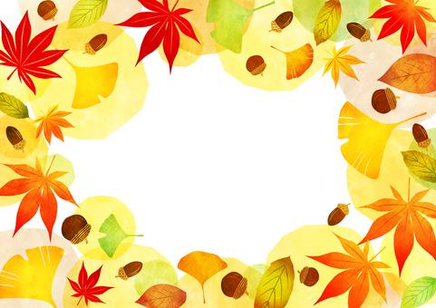 水彩風格的秋葉和橡子框架透明螞蟻