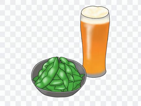 Green soybeans and beer