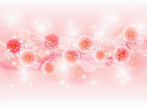Glitter background of peach blossoms, staff and streamlines