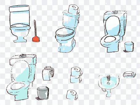 Overseas flush toilet and accessory illustration material set