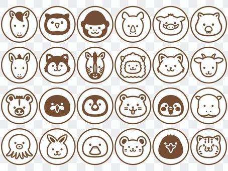 動物臉圖標2_圓形單色