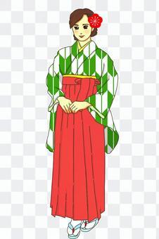 畢業典禮hakama蜻蜓綠色紅色