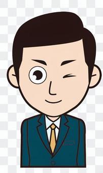 男僱員(眨眼)
