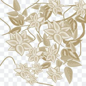 クレマチス 花 花柄 セピア 一色