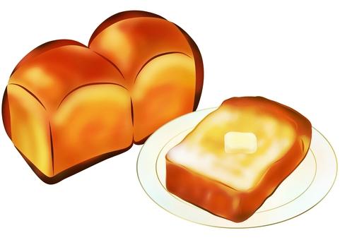 山形麵包和黃油吐司