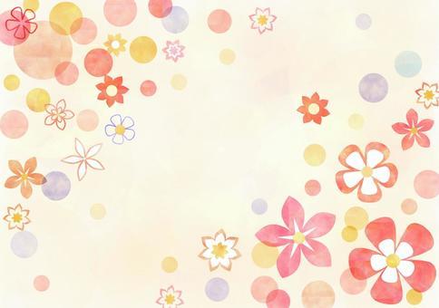 花卉图案_粉彩_黄色背景