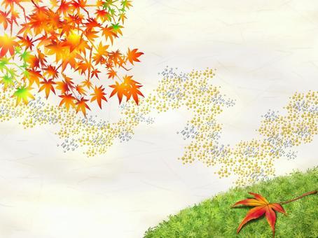 彩色的紙樣式的青苔和秋天的落葉日本紙