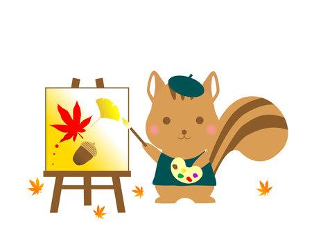 가을 일러스트 다람쥐