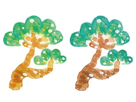 2 棵松樹一套
