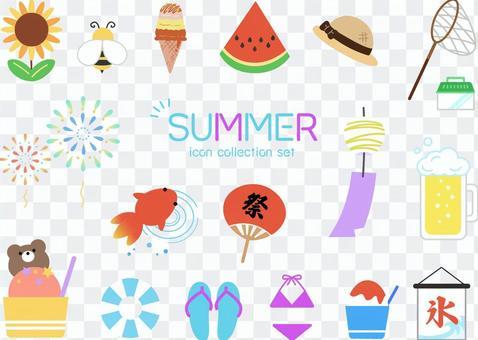 Summer cute icon various set