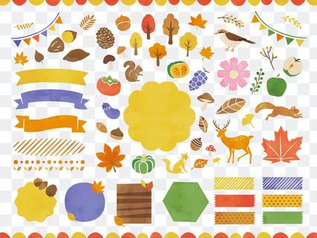 秋のフレームデザインと装飾イラストセット