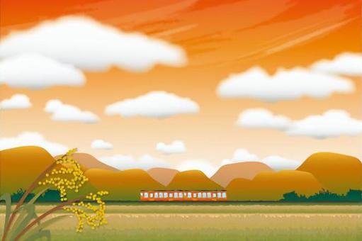 與日落的家鄉火車景觀