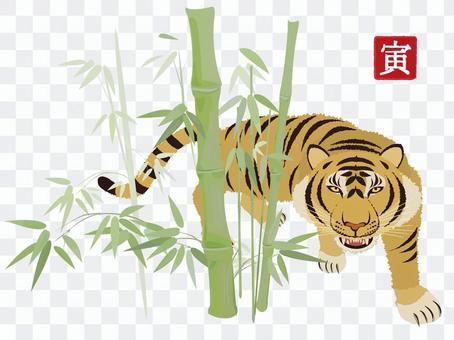 Tiger New Year's card material bamboo bush
