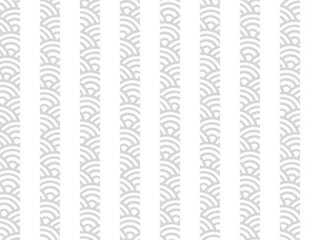 【日紋x紋】青海波浪x條紋:白