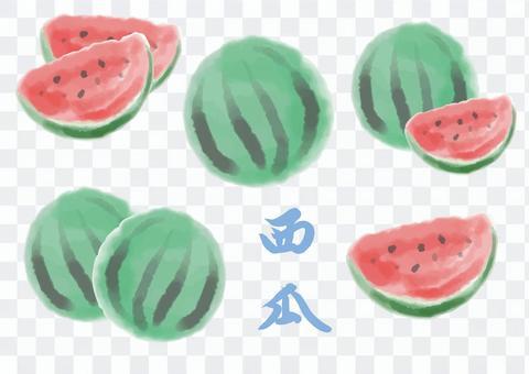 西瓜 フルーツ 水彩
