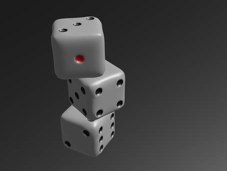 三個堆疊的骰子