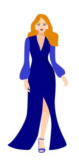 藍色開slit連衣裙的女人