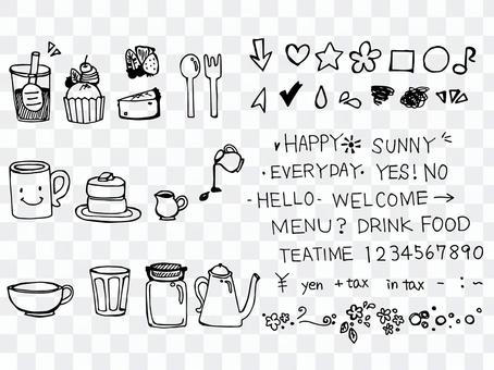Assorted cafe style illustration
