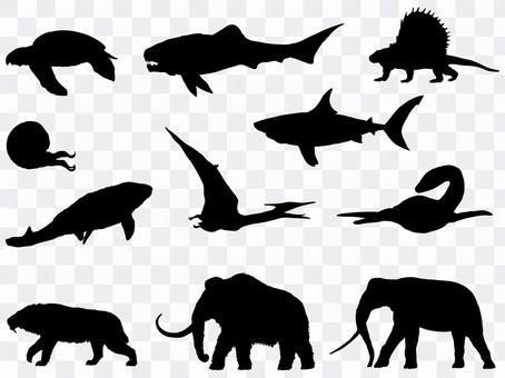 Ancient creature silhouette_set