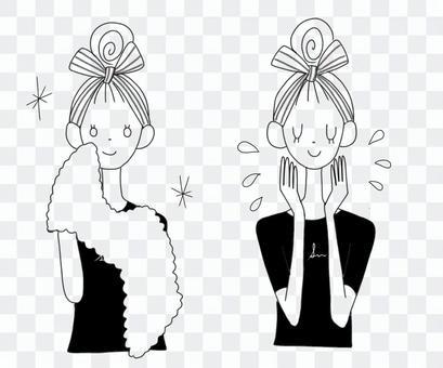 Face wash woman monochrome