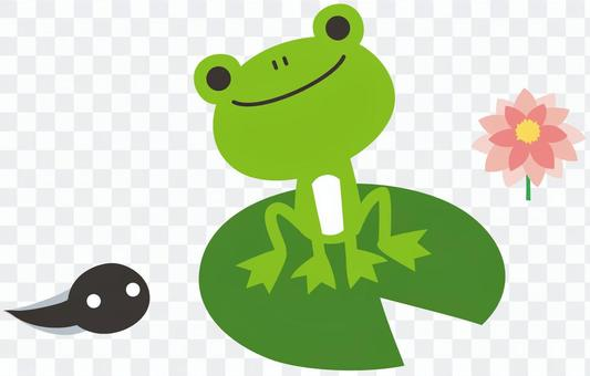 A frog and a ladle watching each other