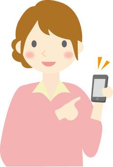 一個智能手機和一個女人